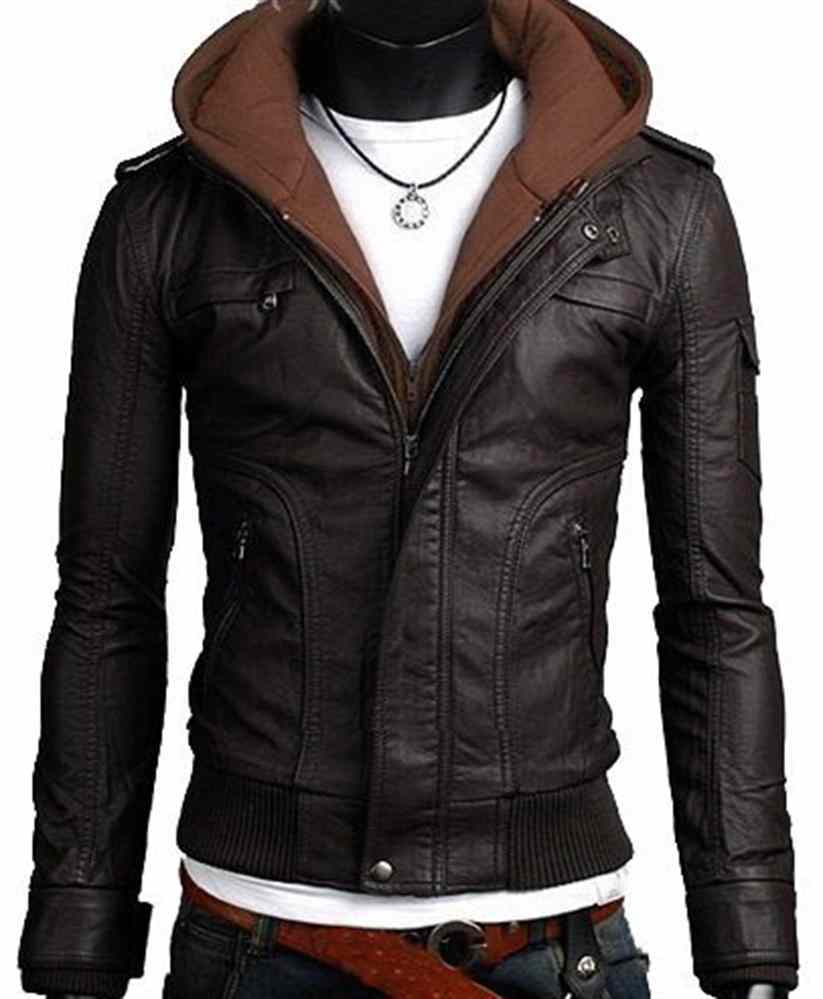 MEN LEATHER JACKET, MEN FABRIC HOODED LEATHER JACKET, MENS ...