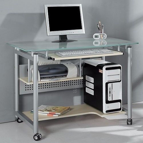 Rolling Computer Desk w Glass Top Wheels Home Office Work Portable PC