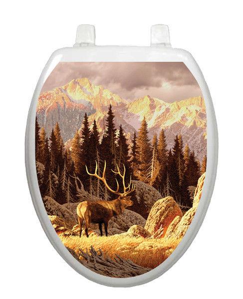 Bathroom Decor Toilet Tattoos Elk Bull Mountain Decoration
