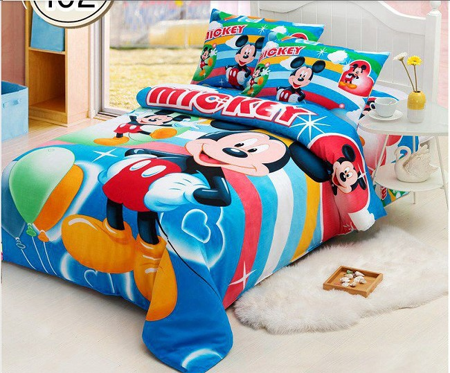 3pc mickey mouse cartoon twin size bed duvet cover set cotton bedding