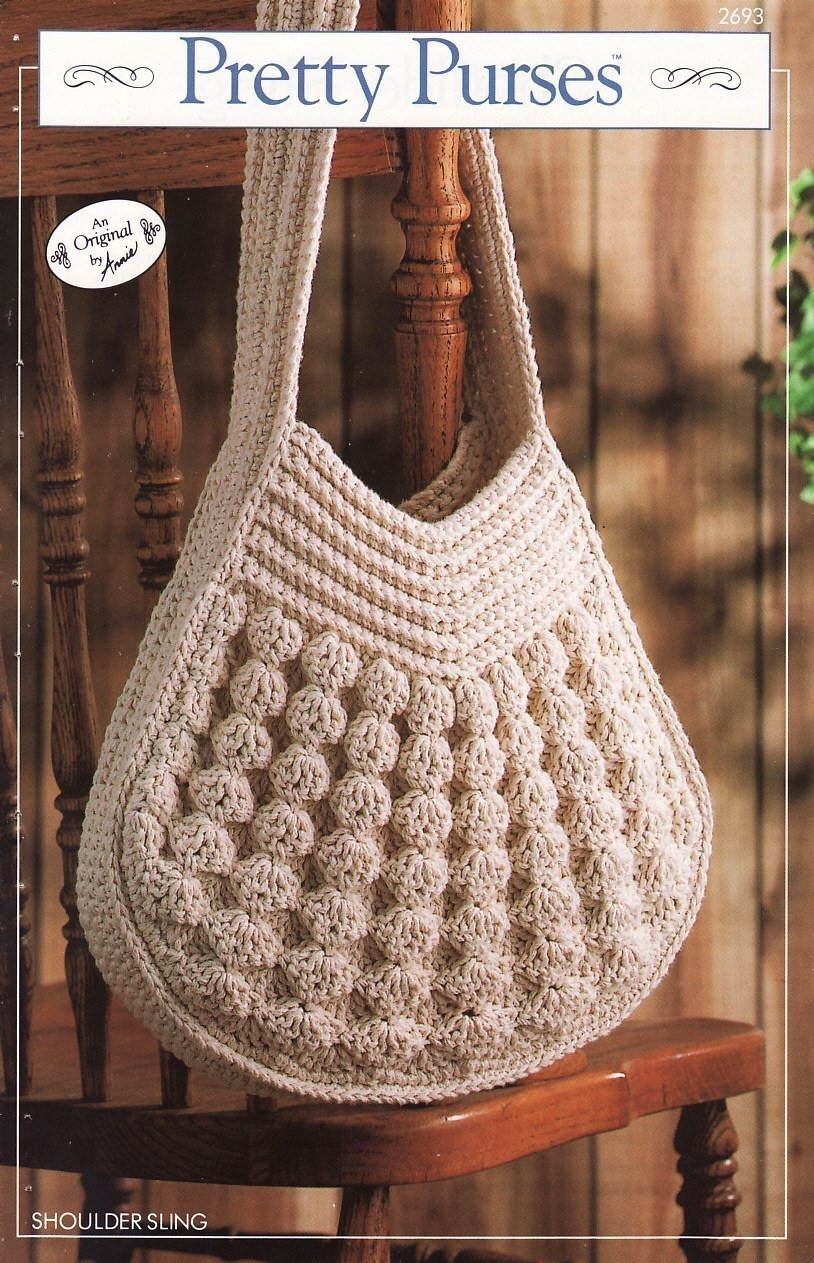 Crochet Sling Bag Pattern : Shoulder Sling Purse Crochet Pattern Bag Annies Pretty Purses Series ...