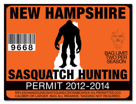 Sasquatch hunting permit license decal sticker polaris rzr for New hampshire fishing license
