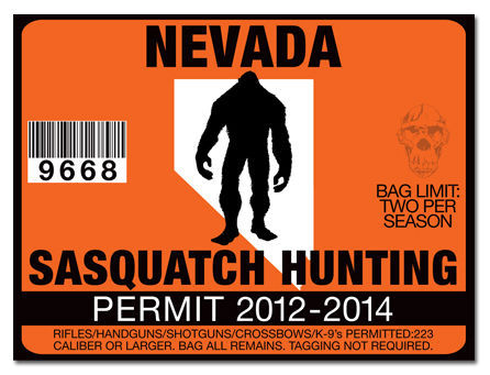 Sasquatch hunting permit license decal sticker polaris rzr for Fishing license nevada