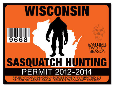 Sasquatch hunting permit license decal sticker chevy dodge for Wisconsin out of state fishing license