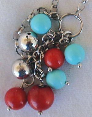 Turquoise red and silver necklace Bonanza