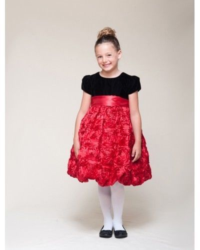 Image 4 of Dressy Velvet Top Swirl Floral Red Skirt Pageant Flower Girl Dress Crayon Kids -