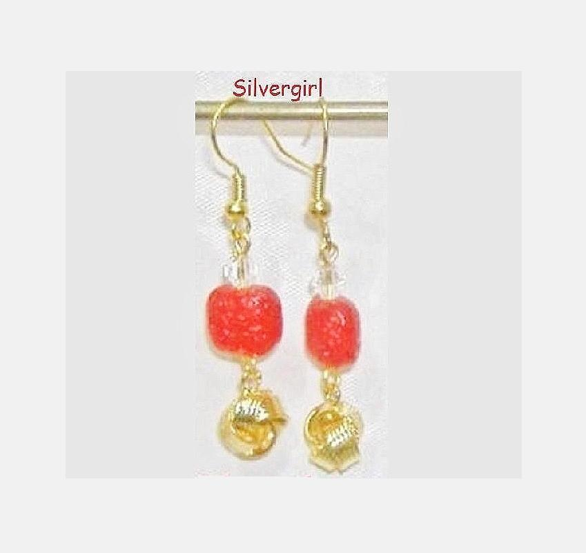 Glass Red Ice Gold Plate Knots Dangle Earrings
