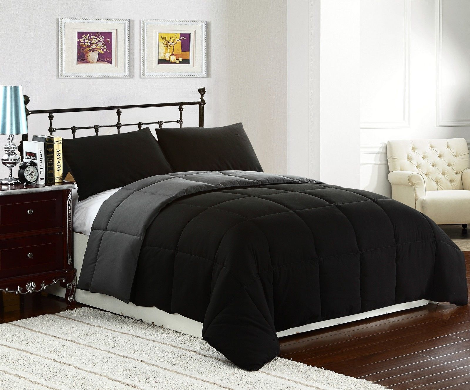 King size 3pc reversible down alternative comforter set for Bed sets with mattress included
