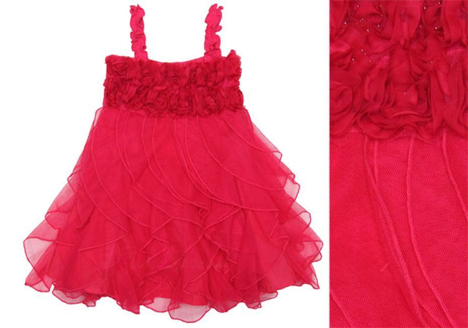 Image 5 of Fun Flirty Precious One Posh Kid Cascading Ruffles Tulle Dress, Fuchsia or Aqua