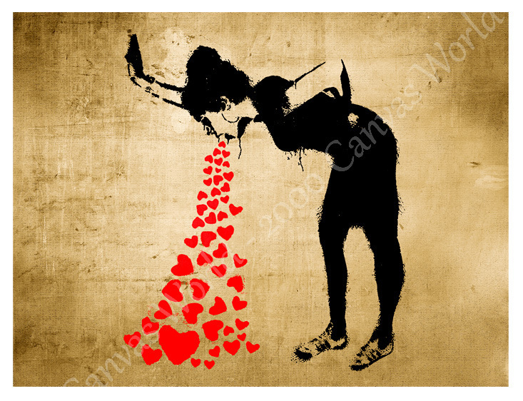 Huge canvas banksy grafity lovesick puke and 50 similar items for Love sick tattoo
