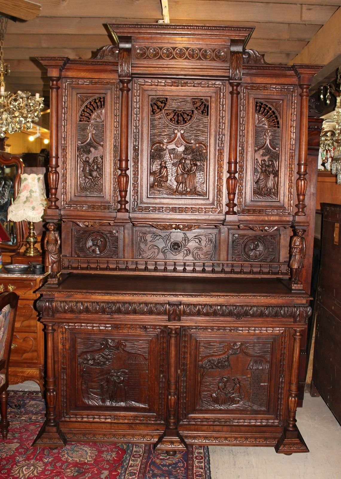 Oak Buffet Servers ~ Exquisite french antique carved oak brittany bar buffet