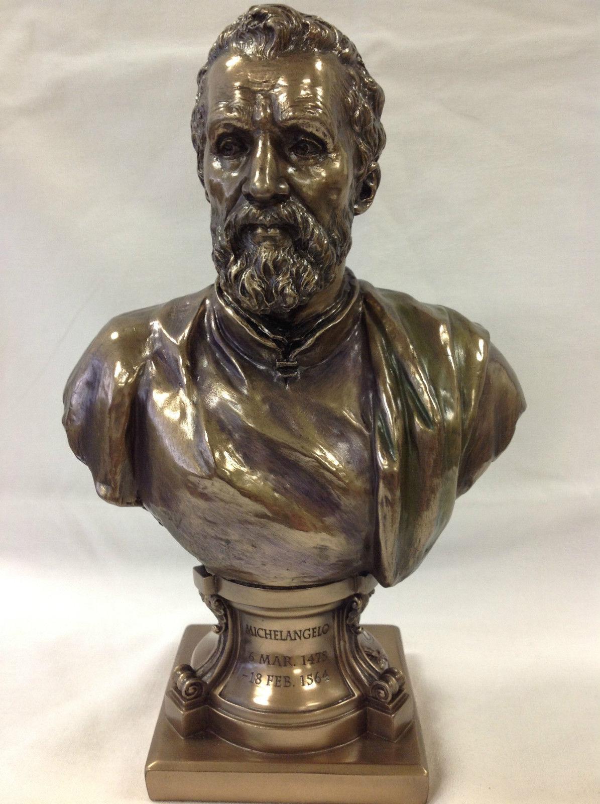Michelangelo Buonarroti Statue Sculpture Bust Bronze