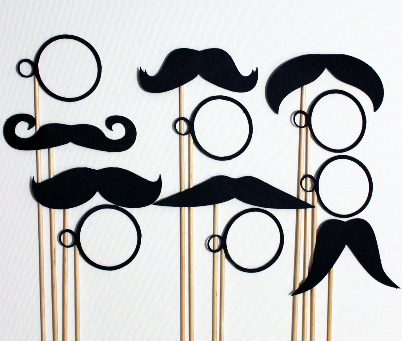 24 photo booth props mustache on a stick wedding party for Monocle promo code