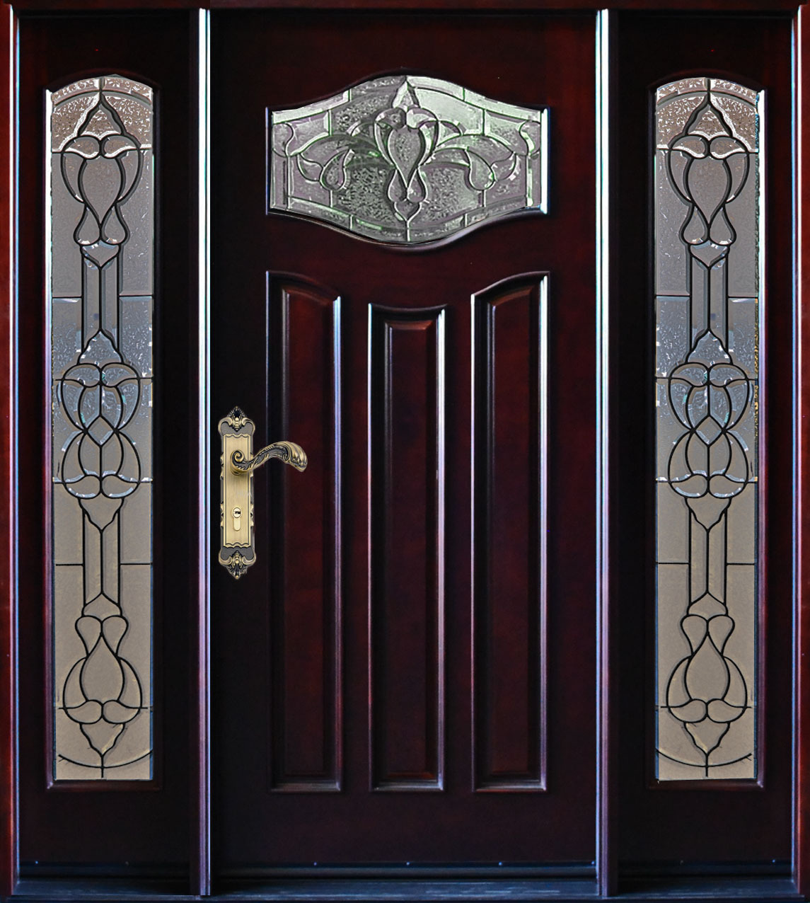 Paris exterior front entry wood door with sidelight 36 x for 36 inch exterior french doors