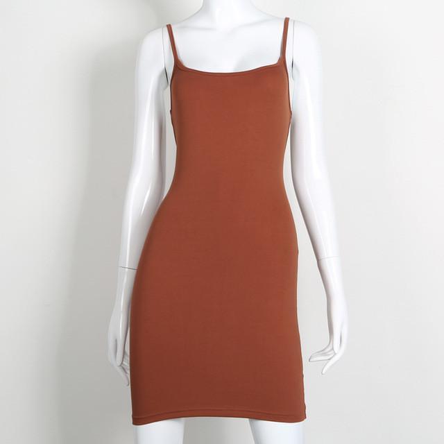 2017 95% Cotton Well Tough Spaghetti Strap Sexy Summer Dress Casual Vestidos boh - Brown - L