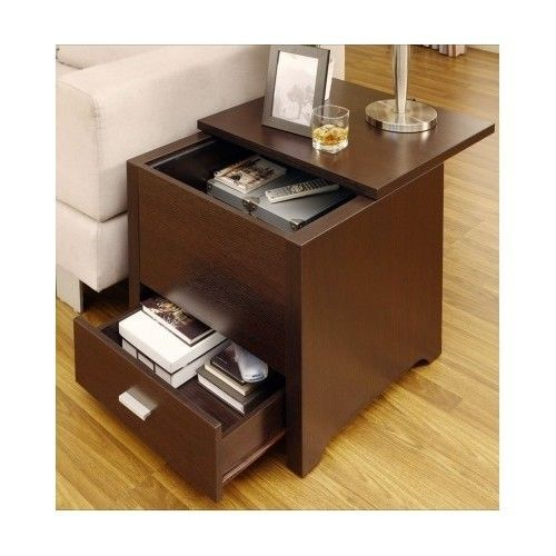 End Table Wooden Storage Living Room Furniture Night Stand Drawers Coffee Side Tables