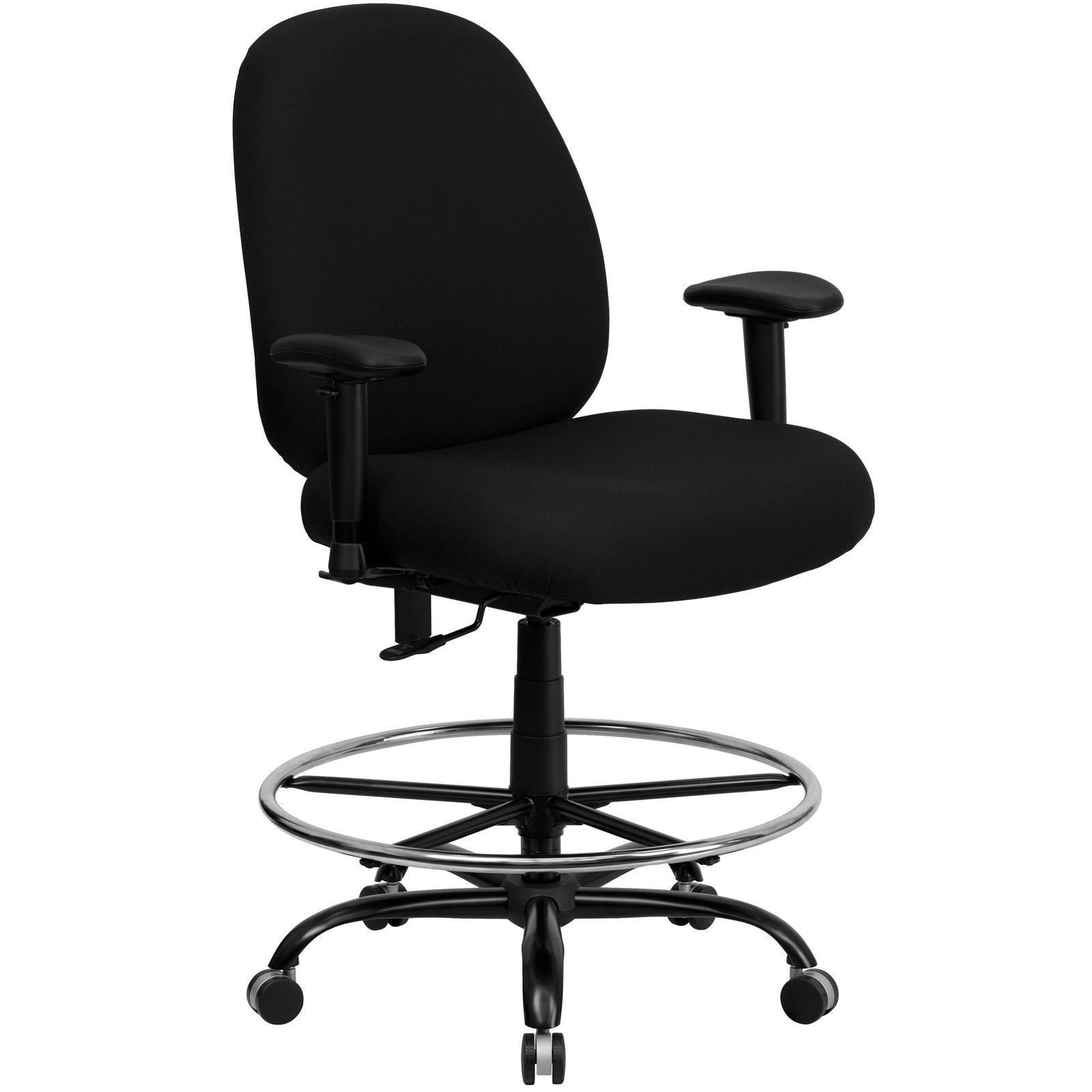 Flash HERCULES Big Tall Black Drafting Stool With Arms Extra WIDE