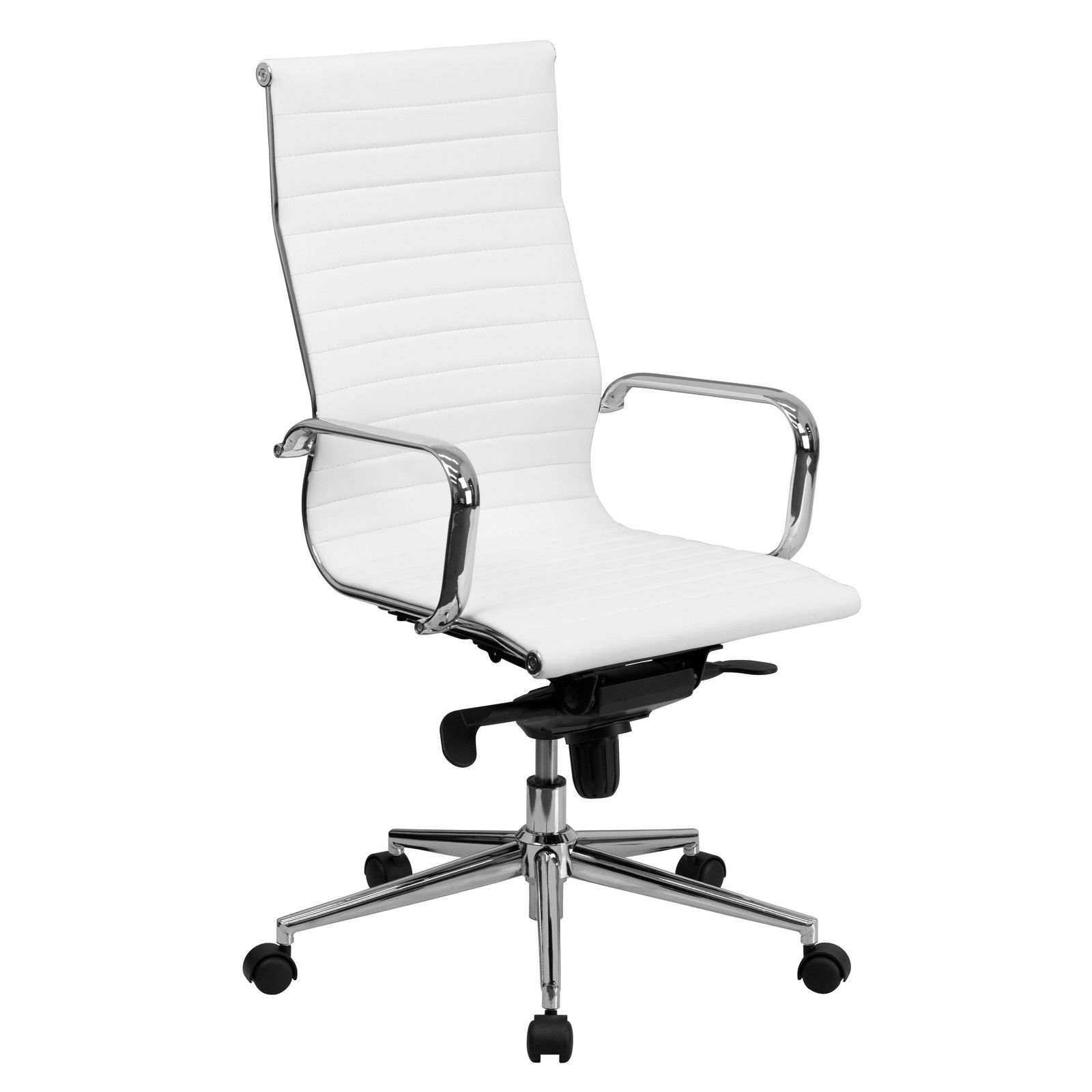 Back white ribbed upholstered leather executive office chair chairs