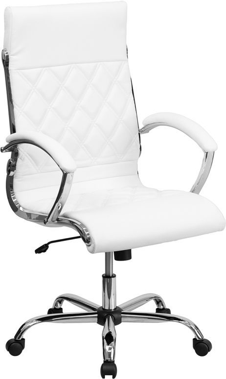 White leather executive office computer chair w chrome base chairs