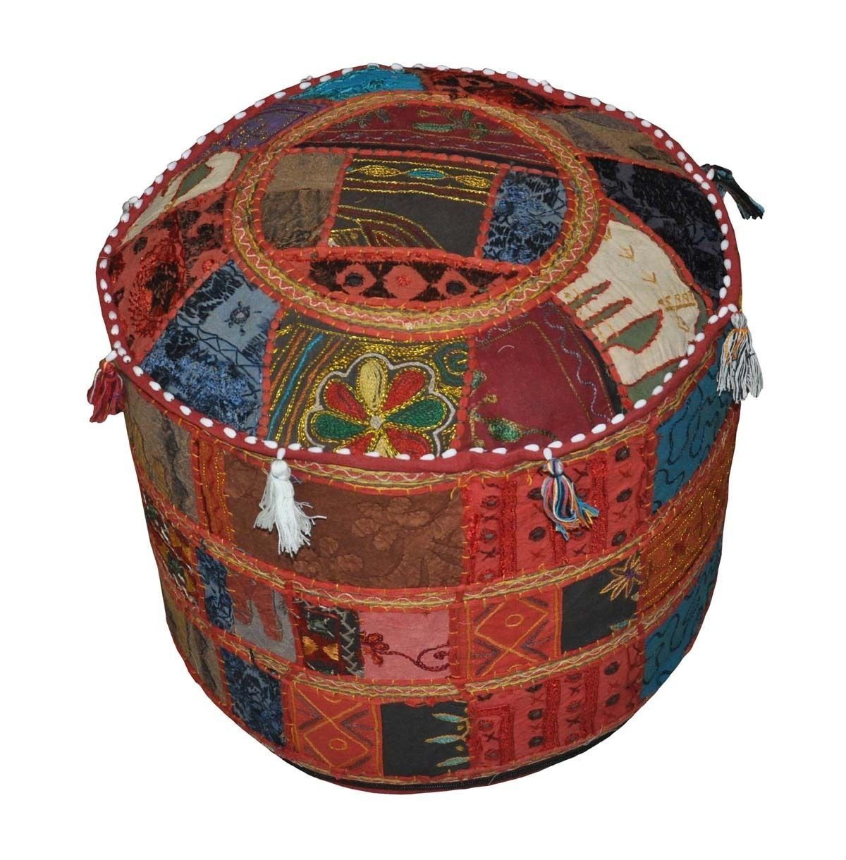 Ethnic Indian Decorative Ottoman Stool Embroidery
