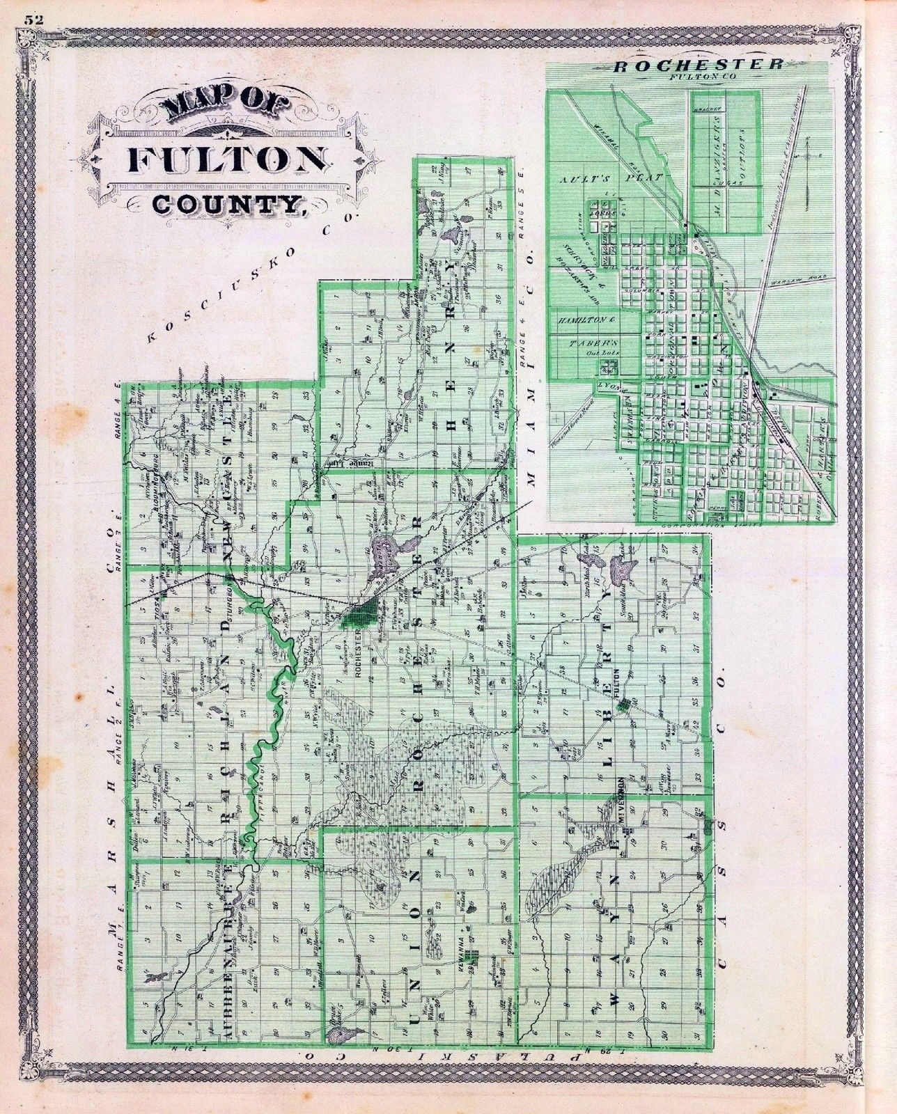 1875 Indiana Atlas Map Poster Of Fulton County Plat Land