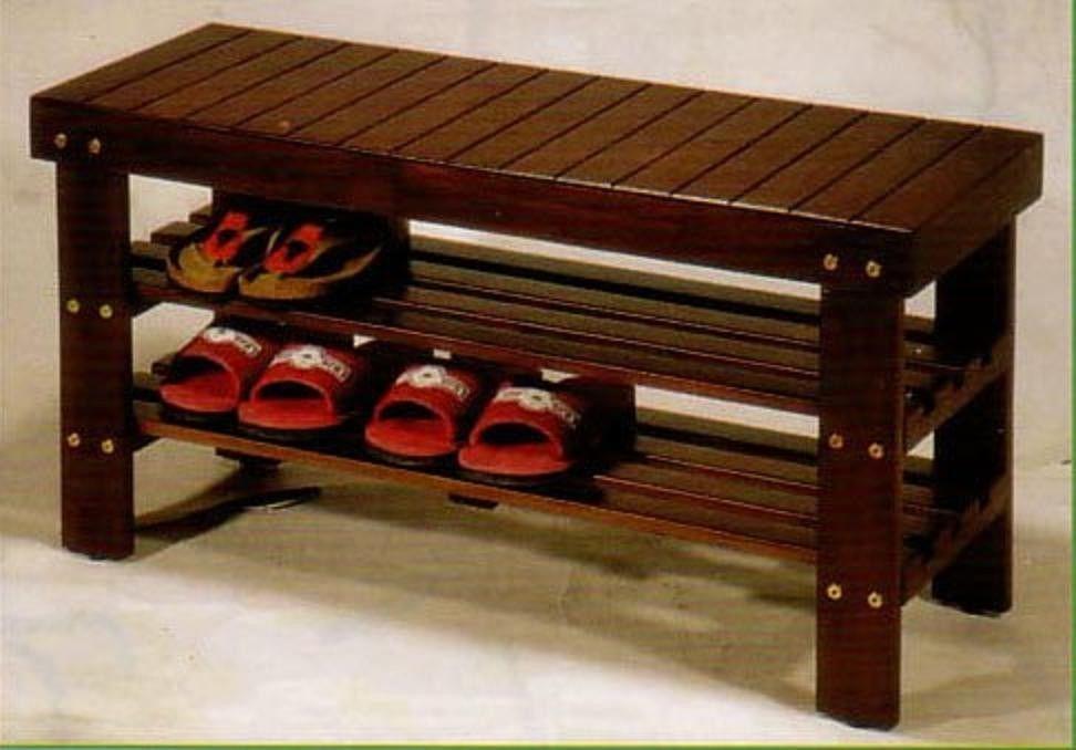 Shoe Rack Organizer Patio Entryway Storage Wooden Seat
