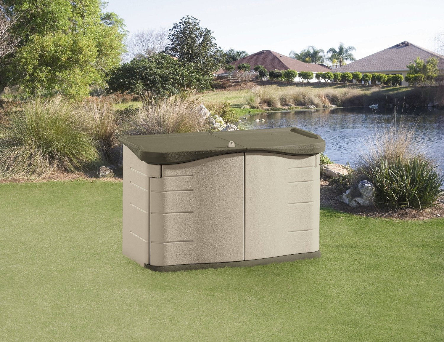 Outdoor storage shed bin box garden yard deck patio for Outdoor garden shed