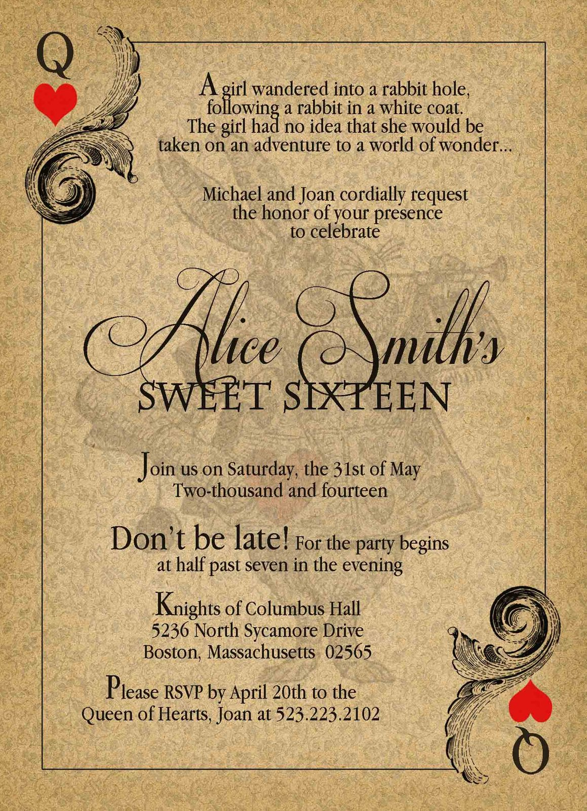 Alice in Wonderland Vintage Sweet Sixteen Birthday ...