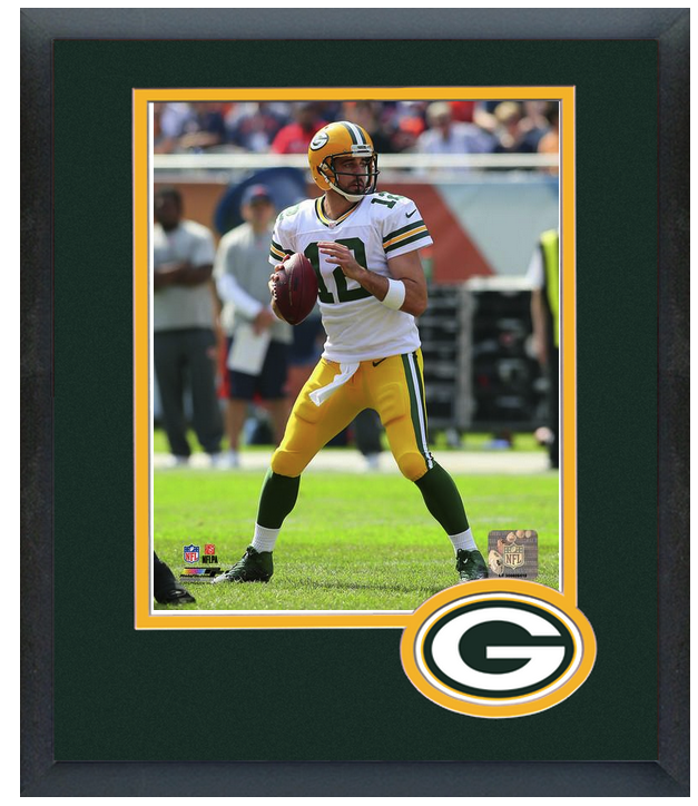 Aaron Rodgers 2014 Green Bay Packers 11 X 14 Team Logo Matted Framed Photo Football Nfl