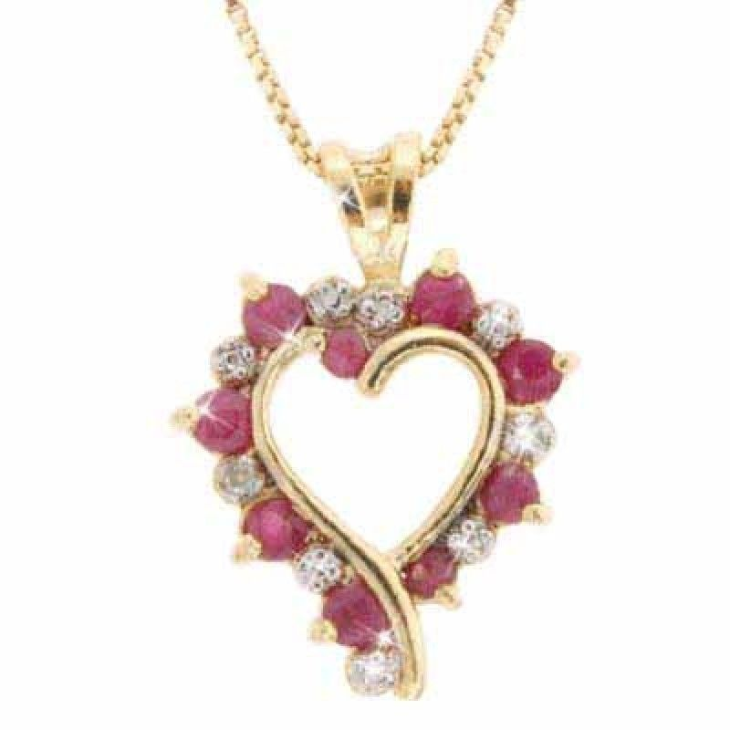 Classic Red Ruby Tiny Diamond Heart 23mm Pendant Necklace ...