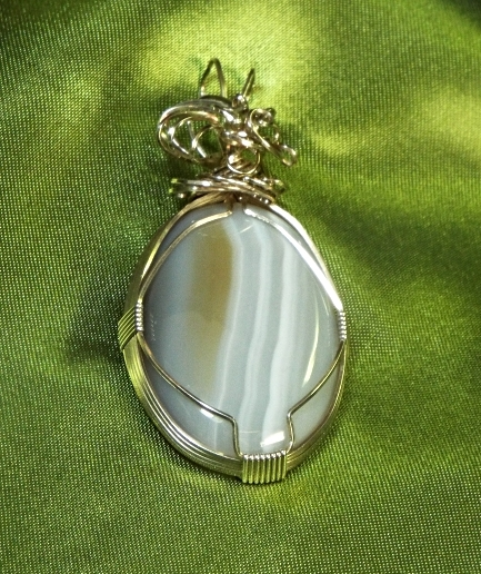 Jewelry By Two Gems (Wp2) Sterling Silver Wire Wrap Agate Pendant