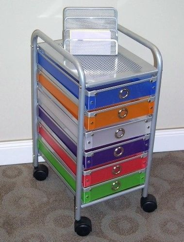 6 drawer rolling storage home office school craft organizer cart wheels colornew storage bins. Black Bedroom Furniture Sets. Home Design Ideas