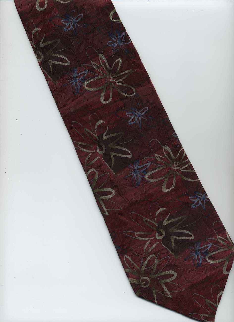 J. GARCIA Tie ~ Banyan Trees 14 ~ Red, Maroon, Tan, Blue ~ Abstract Floral Silk
