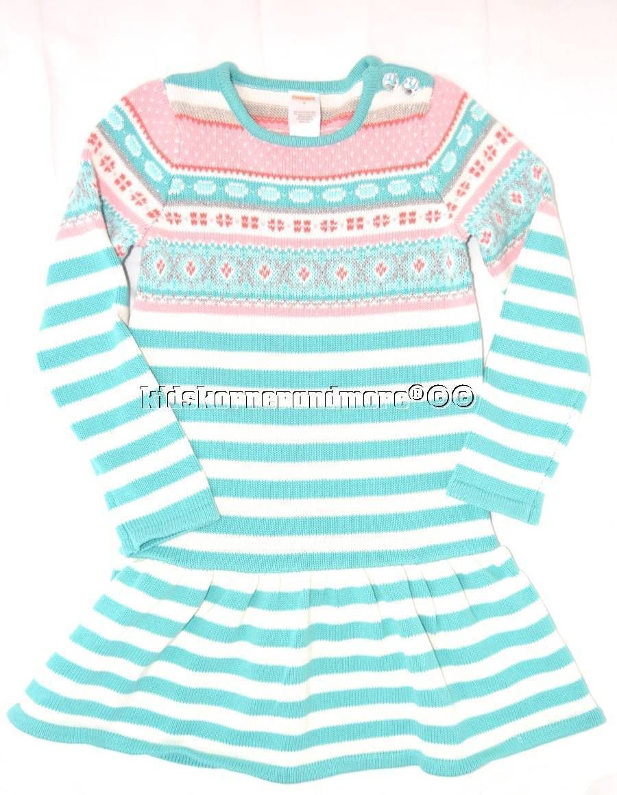 Gymboree snowflake glamour girls fair isle striped sweater dress sz 8