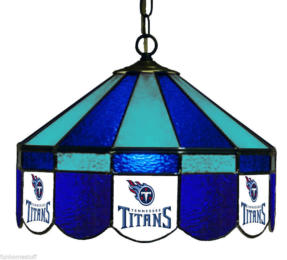 "TENNESSEE TITANS 16"" STAINED GLASS GAME ROOM HANGING BAR"