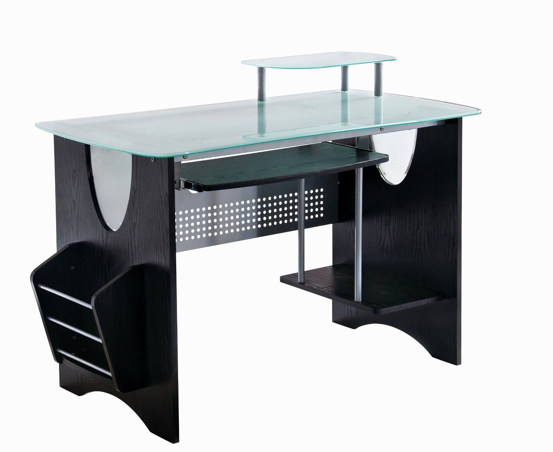 Espresso & Frosted Glass Computer Desk Home Office Furniture - Desks
