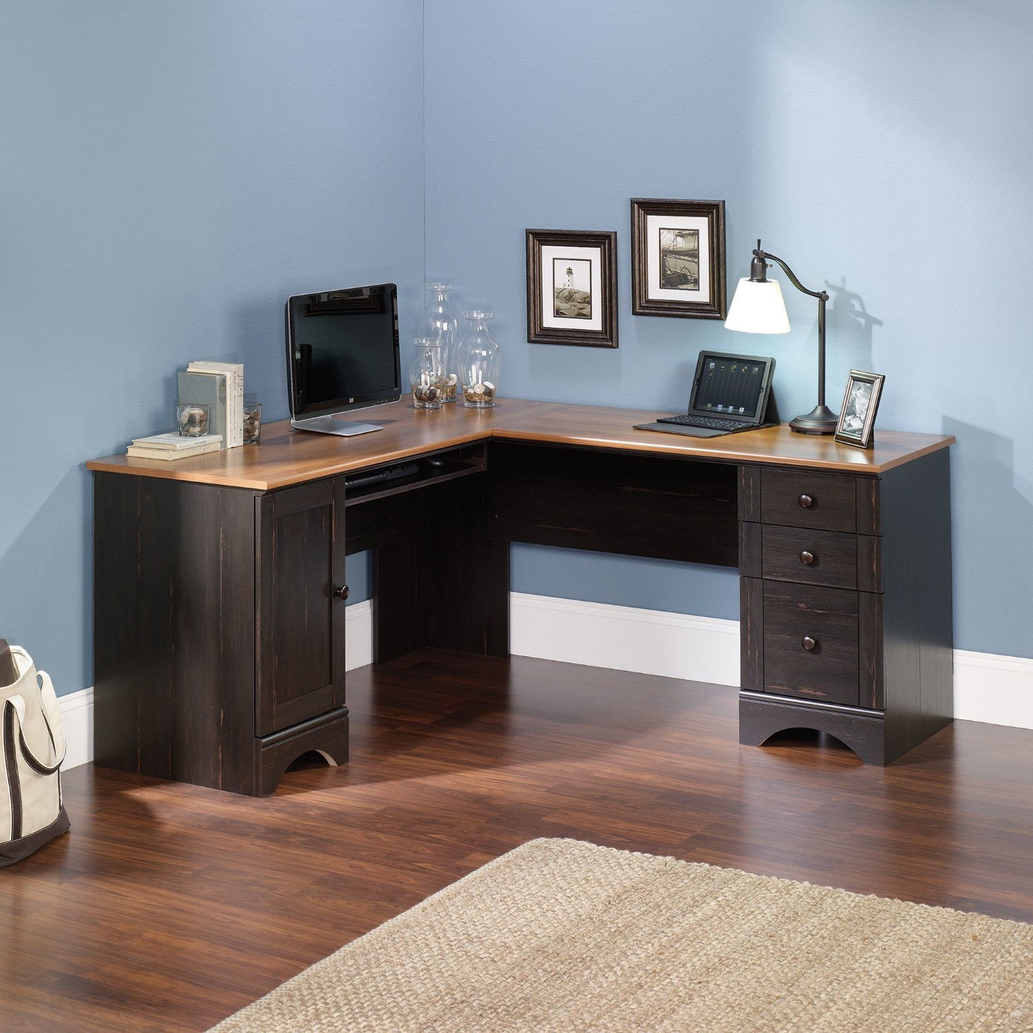 Corner computer desk in antique paint finish home office for Paint office chair