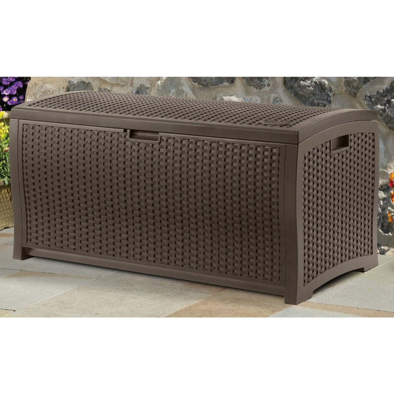 suncast 99 gallon mocha wicker resin deck box outdoor