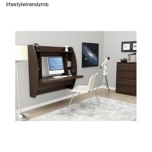 Brown floating desk wall storage computer office furniture - Floating chair for bedroom ...