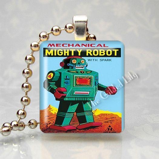 VINTAGE TIN TOY ROBOT Scrabble Tile Art Pendant Charm