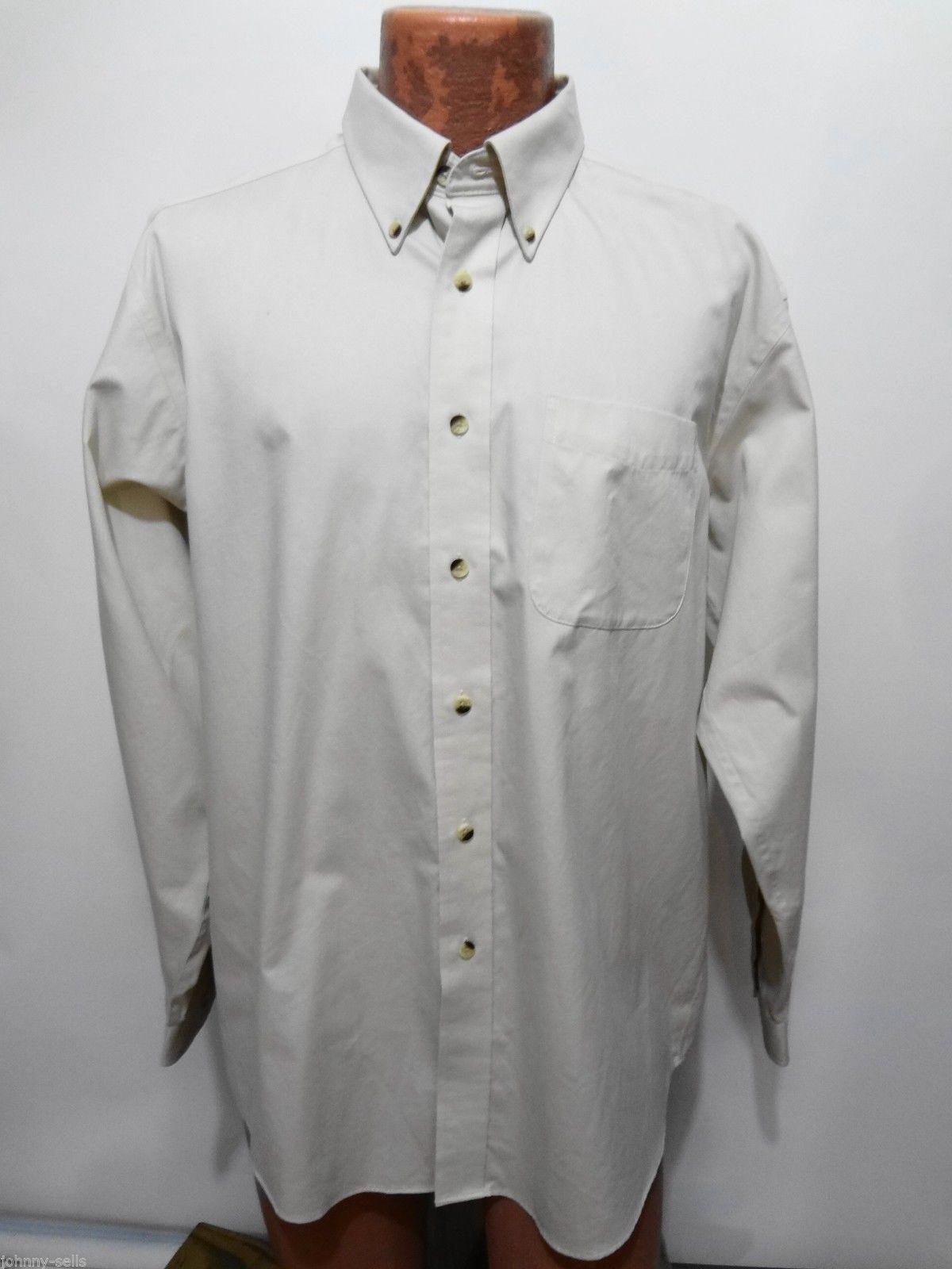 Ll bean beige button down long sleeve cotton shirt mens l for Ll bean wrinkle resistant shirts