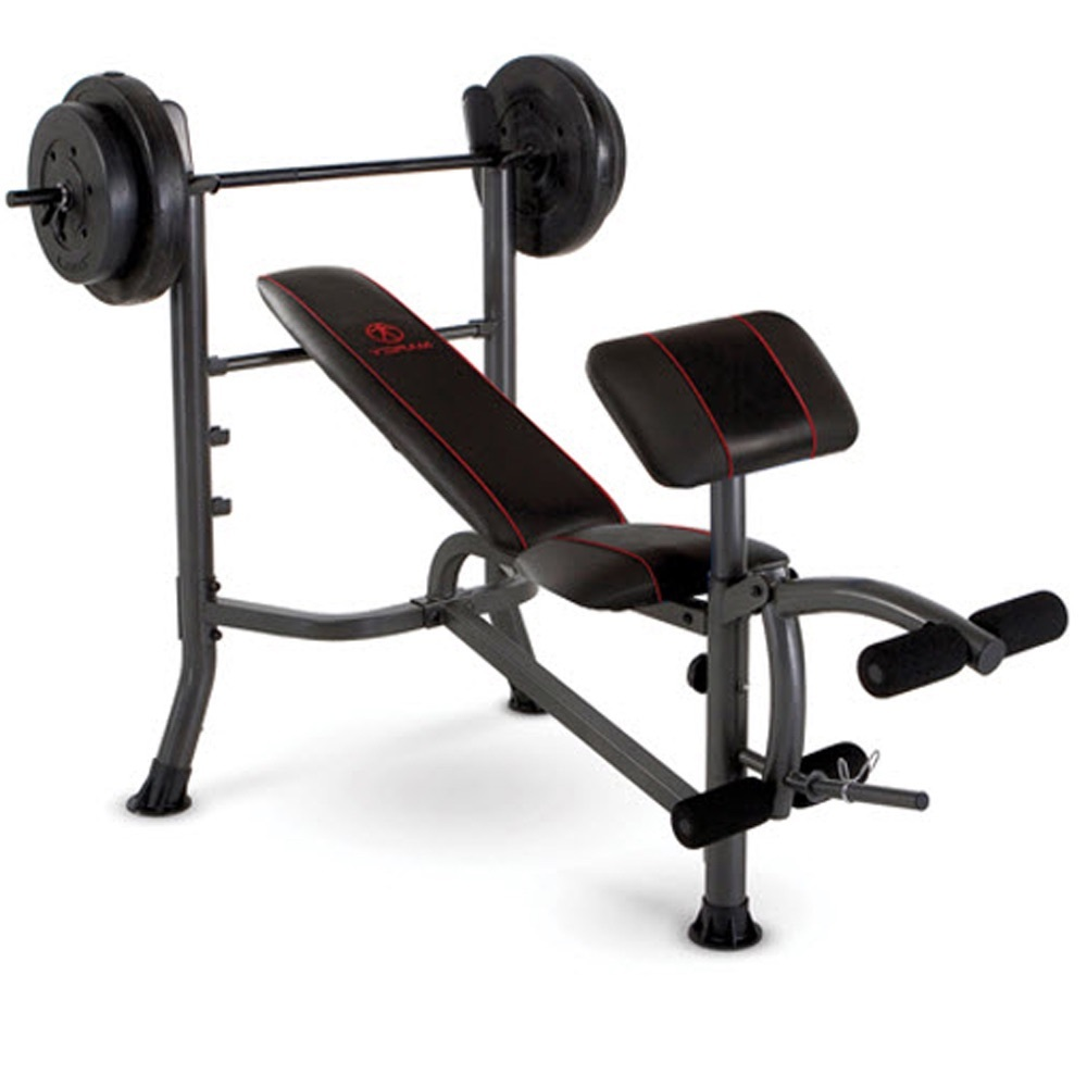 Weight Bench Press With 80lbs Plates Home Gym Workout Equipment Preacher Leg Benches
