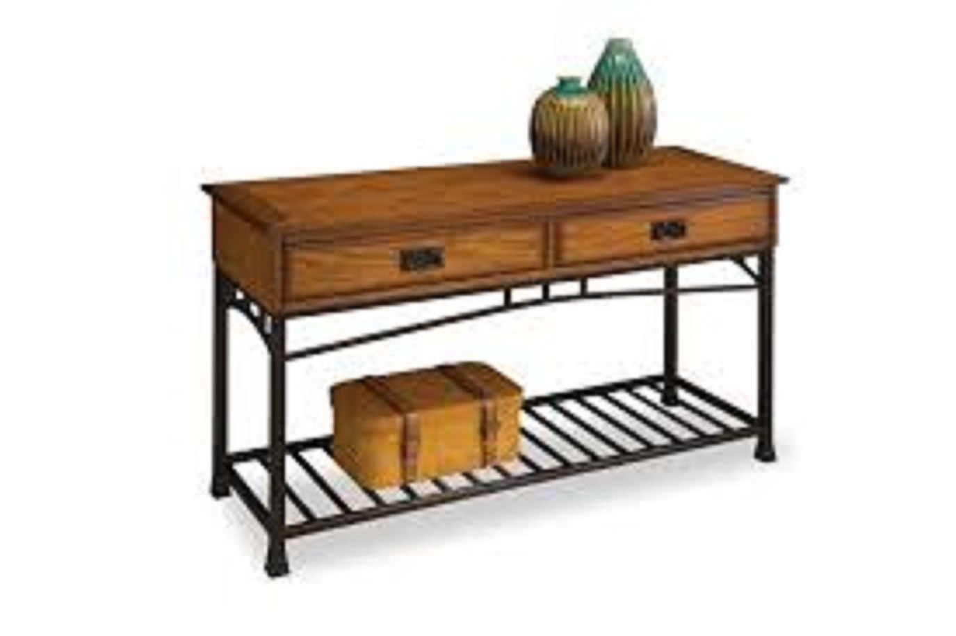Sofa Table Distressed Oak Finish Storage Shelf Display Rack Living . Full resolution‎  image, nominally Width 1375 Height 915 pixels, image with #9E692D.