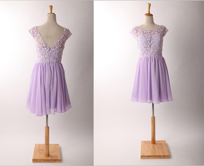 Lavender lace chiffon knee length cheap short prom party for Cheap lavender wedding dresses