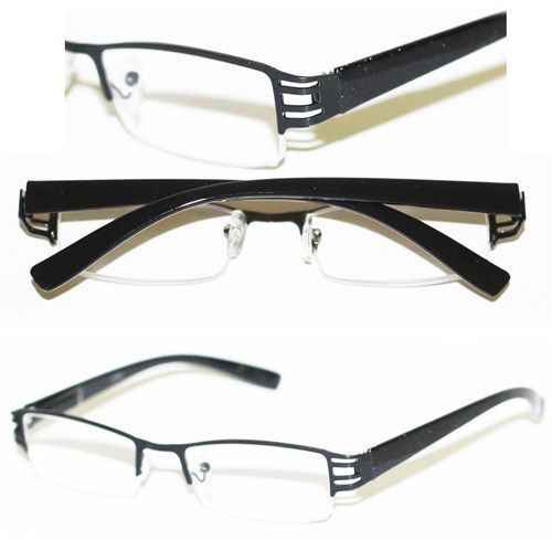 Reading Glasses BRUSHED METAL Cut-Out BLACK Frame Narrow ...
