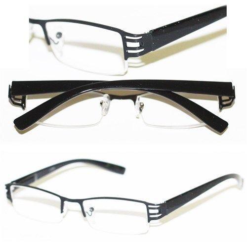 Narrow Frame Reading Glasses : Reading Glasses BRUSHED METAL Cut-Out BLACK Frame Narrow ...