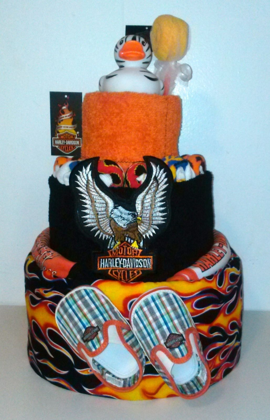 harley davidson diaper cake baby shower boy centerpiece cloth gift
