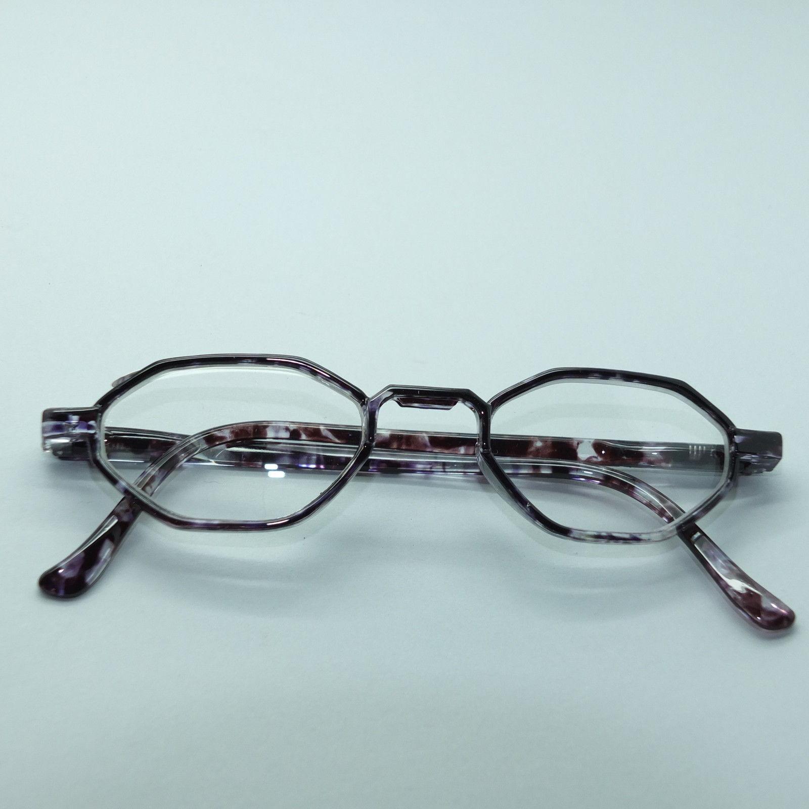 Narrow Frame Reading Glasses : Narrow Hexagon Reading Glasses +1.50 Readers Purple Black ...