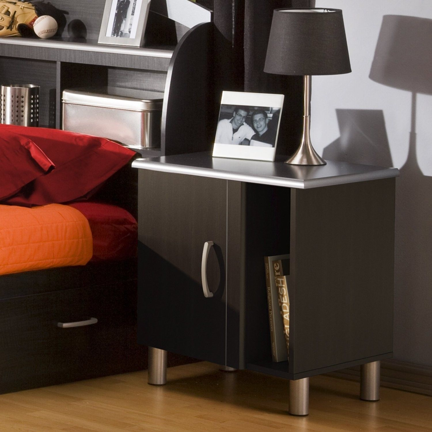 Bedroom Night Stand Modern Style Black Charcoal Storage Shelf Bedside Furniture Nightstands