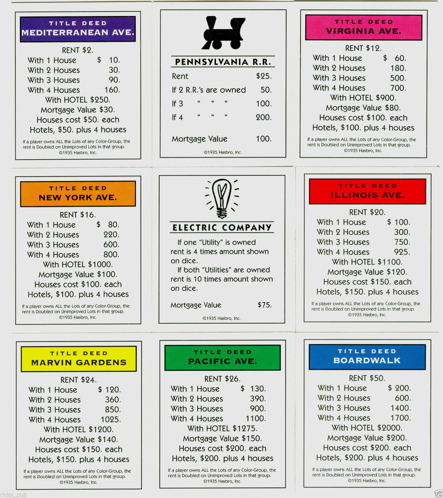 Hilaire image for printable monopoly property cards